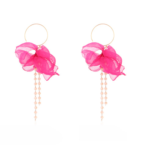 TID Silk bloom earrings | Magenta