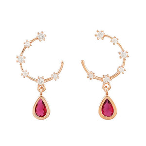 Tiger Tree rose gold and zirconia open hoop studs with ruby drop