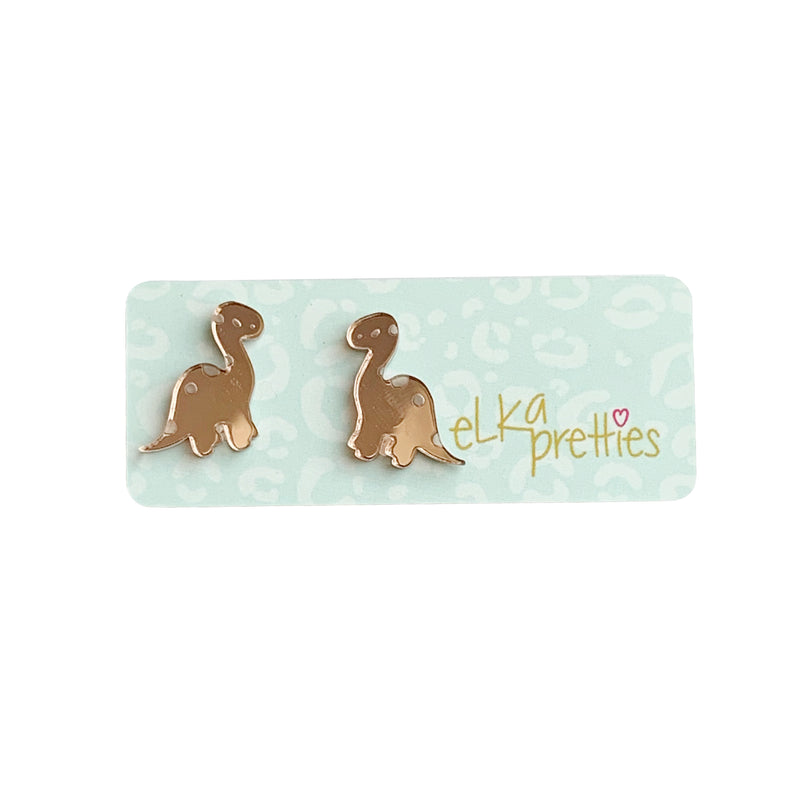 Elka Betty Brontosaurus Mini Studs - Rose Gold Mirror