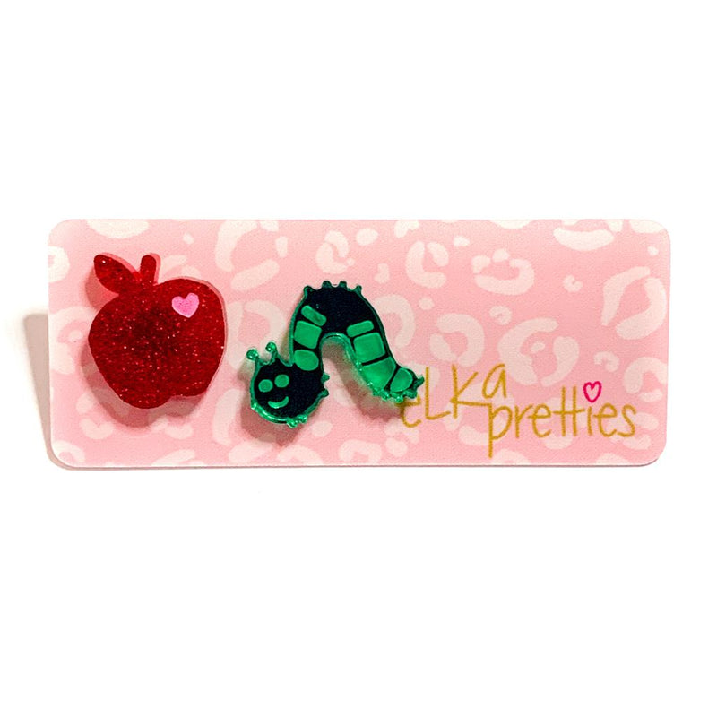 Elka apple and worm studs mini | Red glitter green mirror