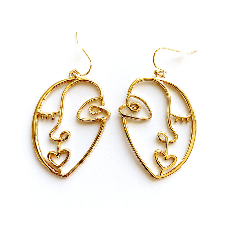 Abstract Face Earrings | Gold