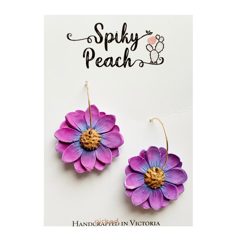 Spiky Peach | Purple Daisy Hoops