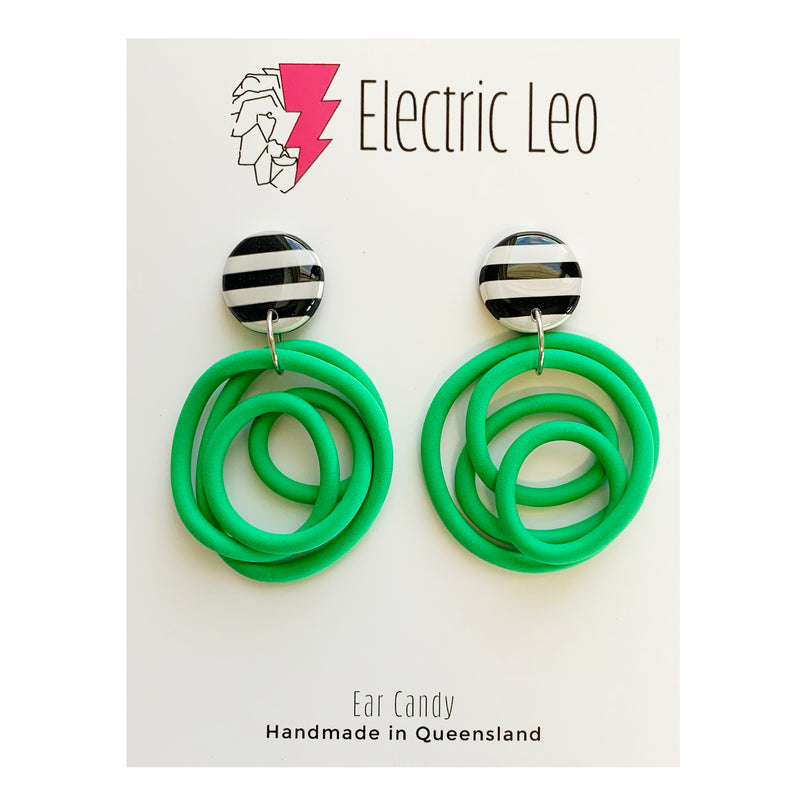 Electric Leo | Neon Green Earrings