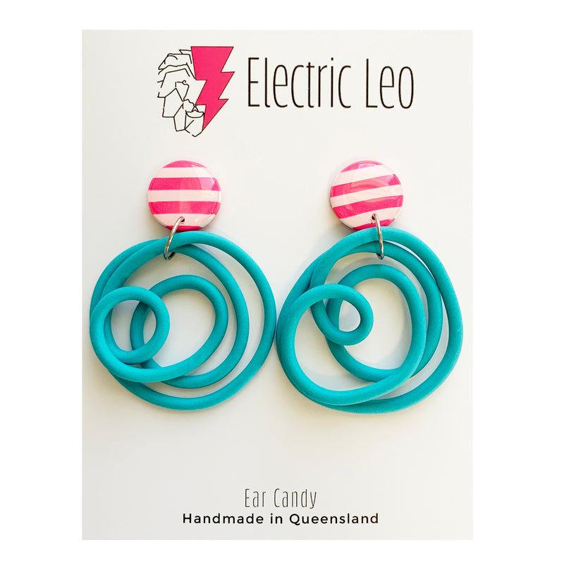 Electric Leo | Blue and Pink Earrings