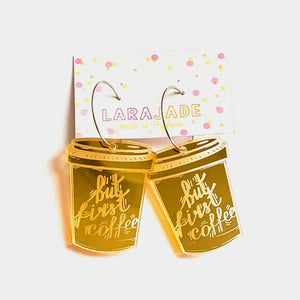 Lara Jade But first coffee hoop dangles | gold mirror