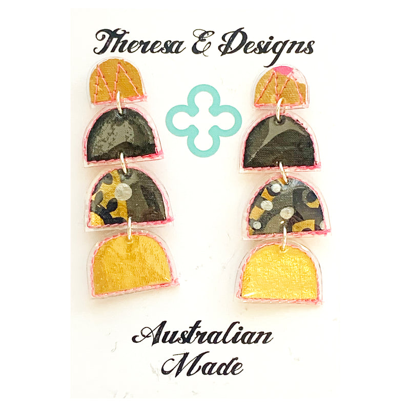 Theresa E Designs PVC dangles | Gold and Black