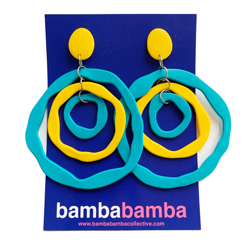 Bamba Bamba | Antonia Earrings Blue & Yellow