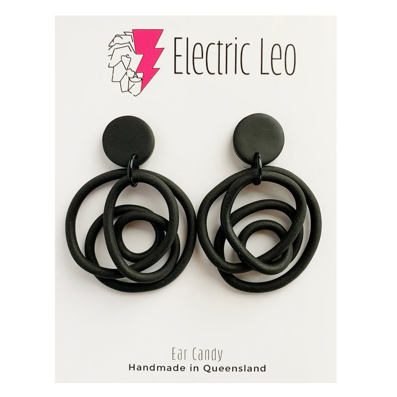 Electric Leo | Black Earrings