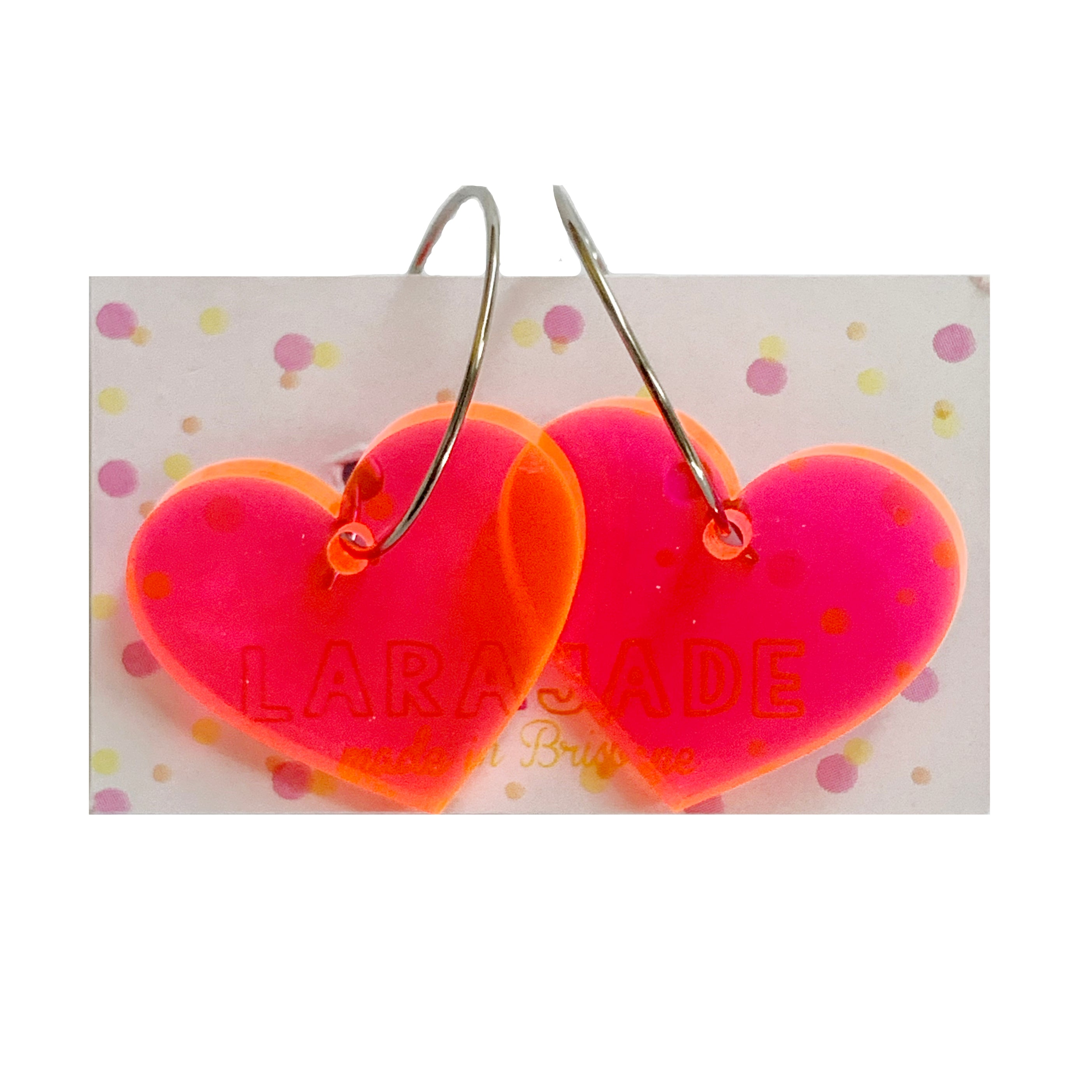 Lara Jade Hoops | Transparent Neon Hearts Small