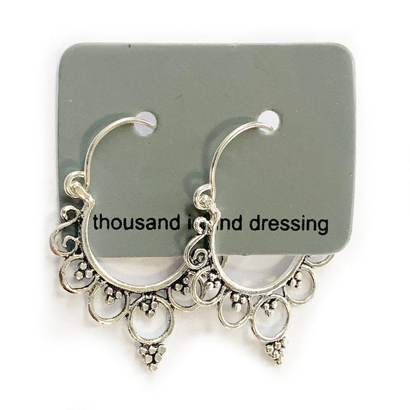 Sterling Silver Intricate Hoops