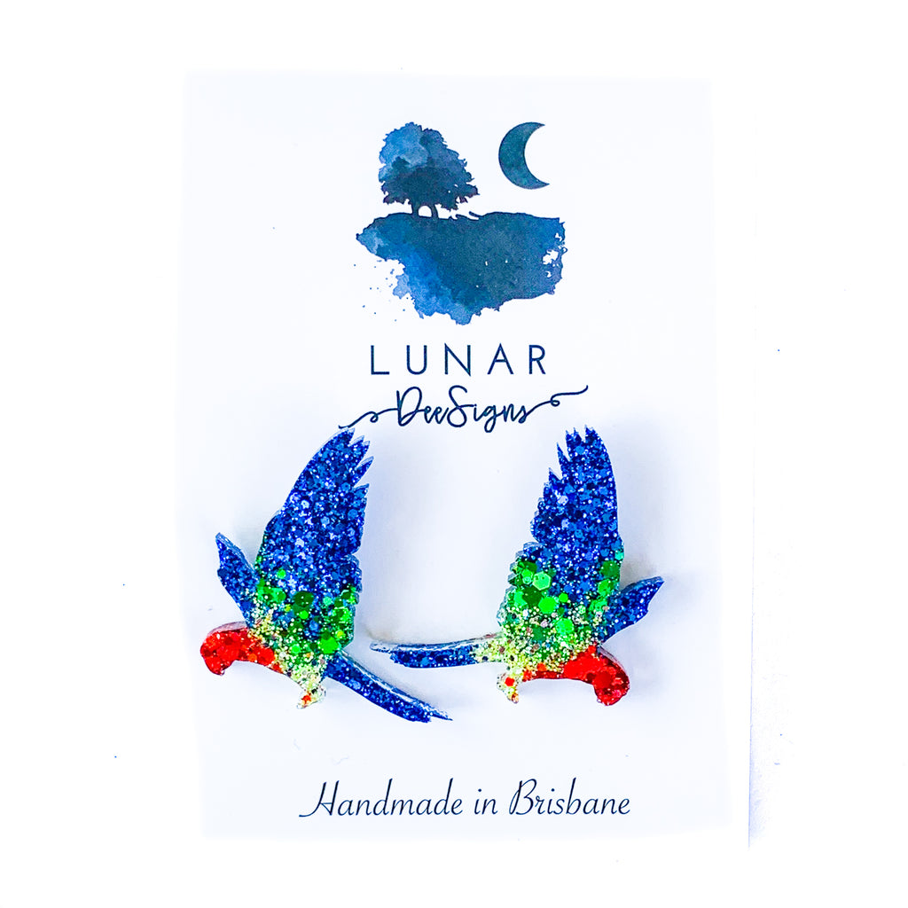 Lunar Rosella Studs | Blue/red/green resin and glitter