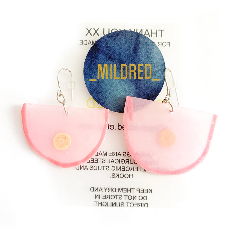 Mildred 'LOVE YOUR BODY' Earrings - Pink