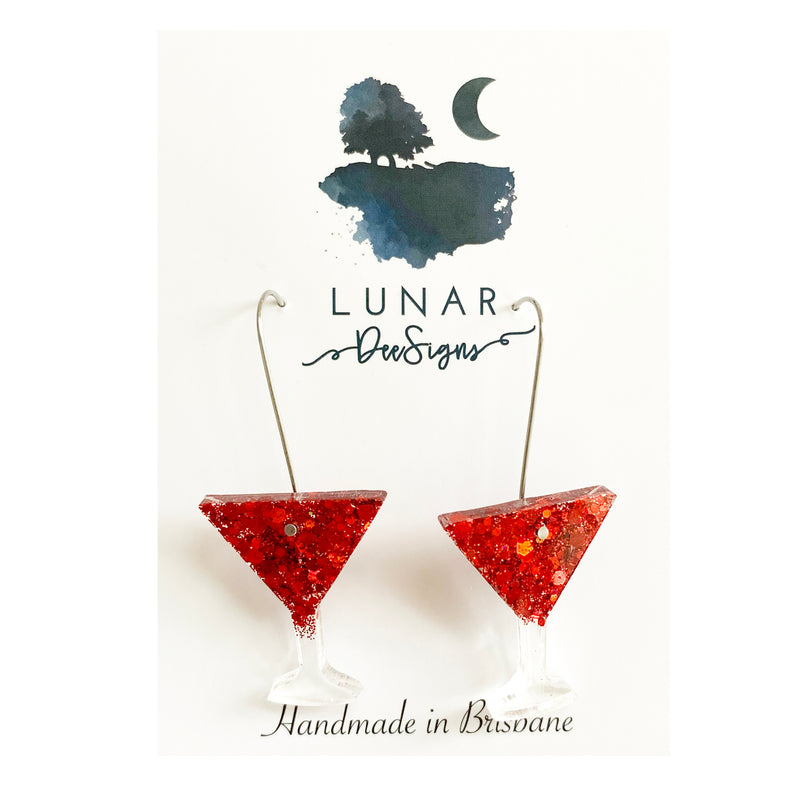 Lunar Cocktail Drops | Red Glitter