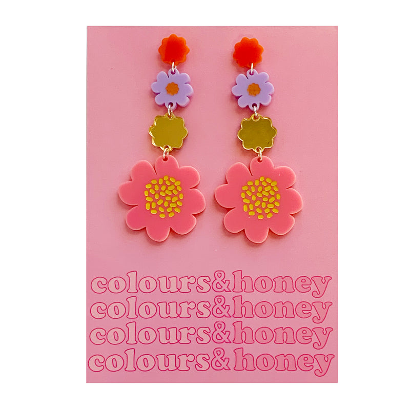 Colours & Honey | Large Flower Earrings