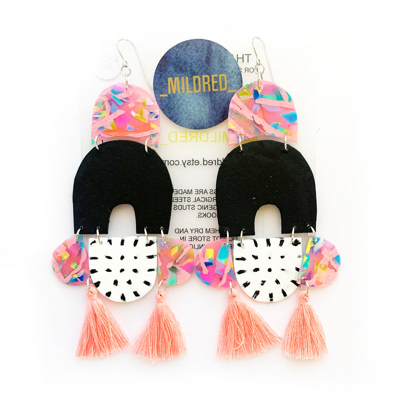 Mildred Dangles - Black, White and Pink