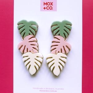 MOX & Co | Triple Monstera Statement Studs