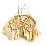 Adorne | Statement Nude Raffia Earrings