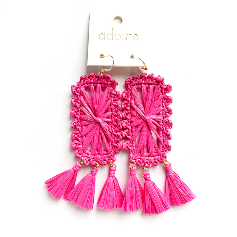 Adorne | Statement Pink Raffia Earrings