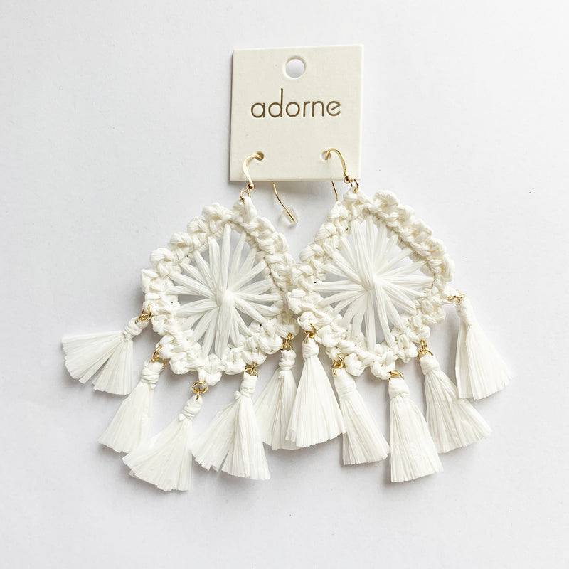 Adorne | Statement White Raffia Earrings