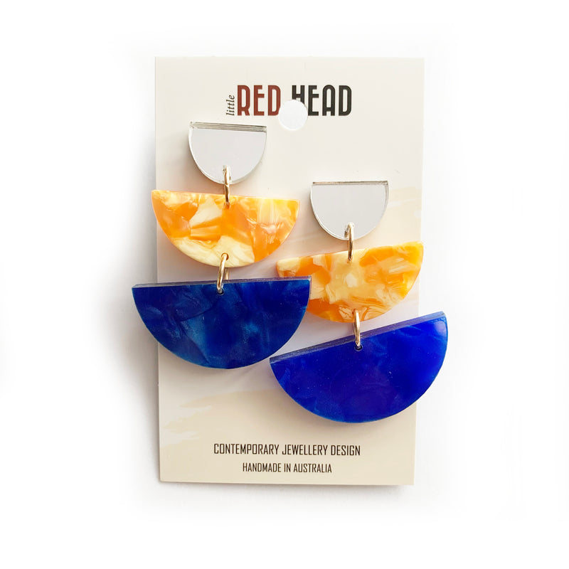 Little Red Head - Blue and Orange Drops