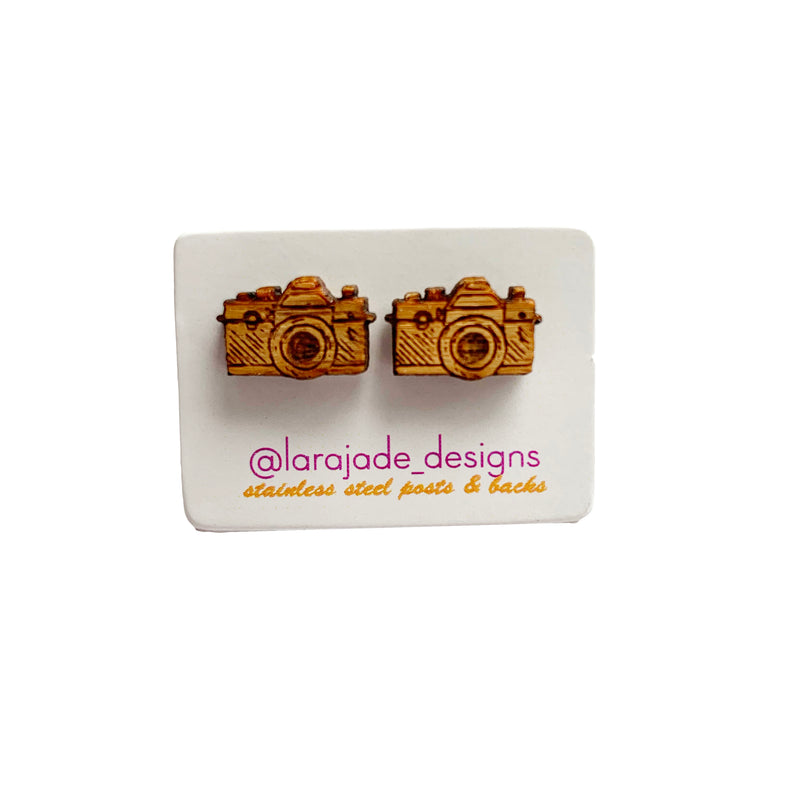 Lara Jade mini camera studs | wood
