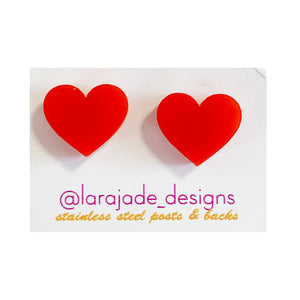 Lara Jade heart studs | red