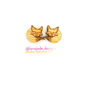 Lara Jade sleeping fox studs | wood