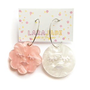 Lara Jade sleepy cloud & moon hoops | pink white marble