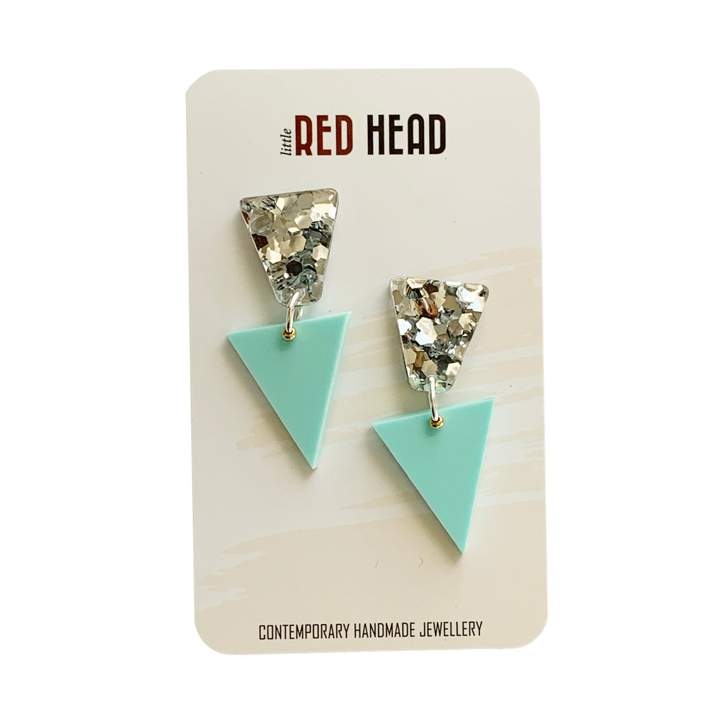 Little Red Head Studded Triangles | Silver and mint