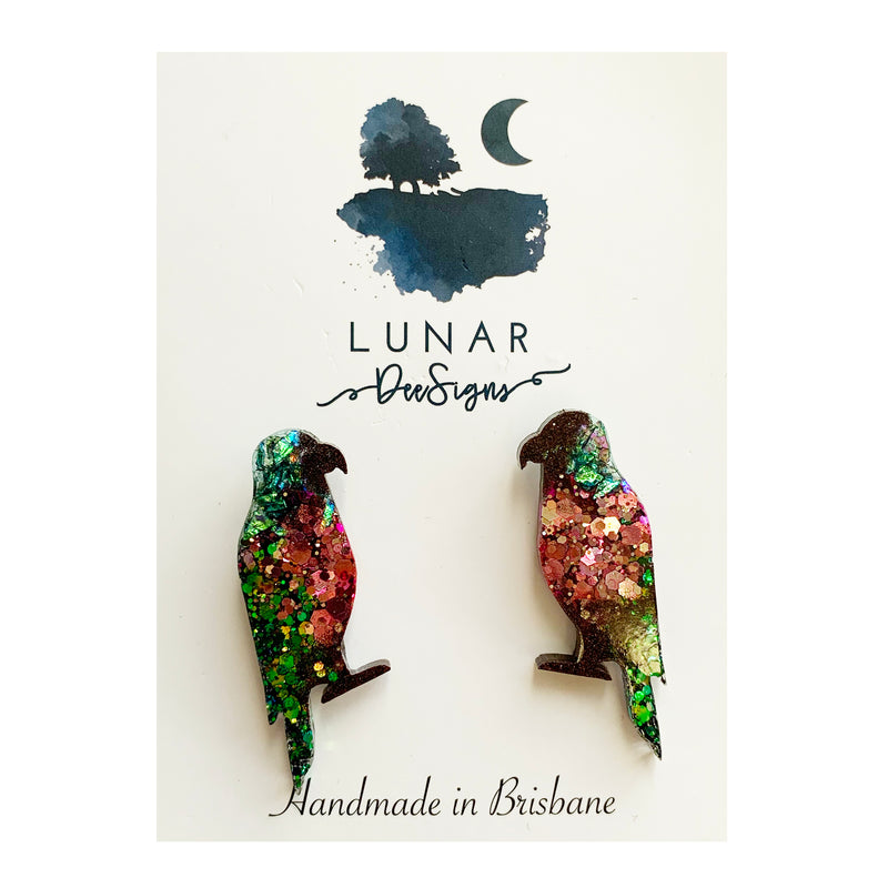 Lunar Glitter Bird Studs | Black, Pink and Green