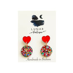 Lunar confetti heart drops | multi and red mirror