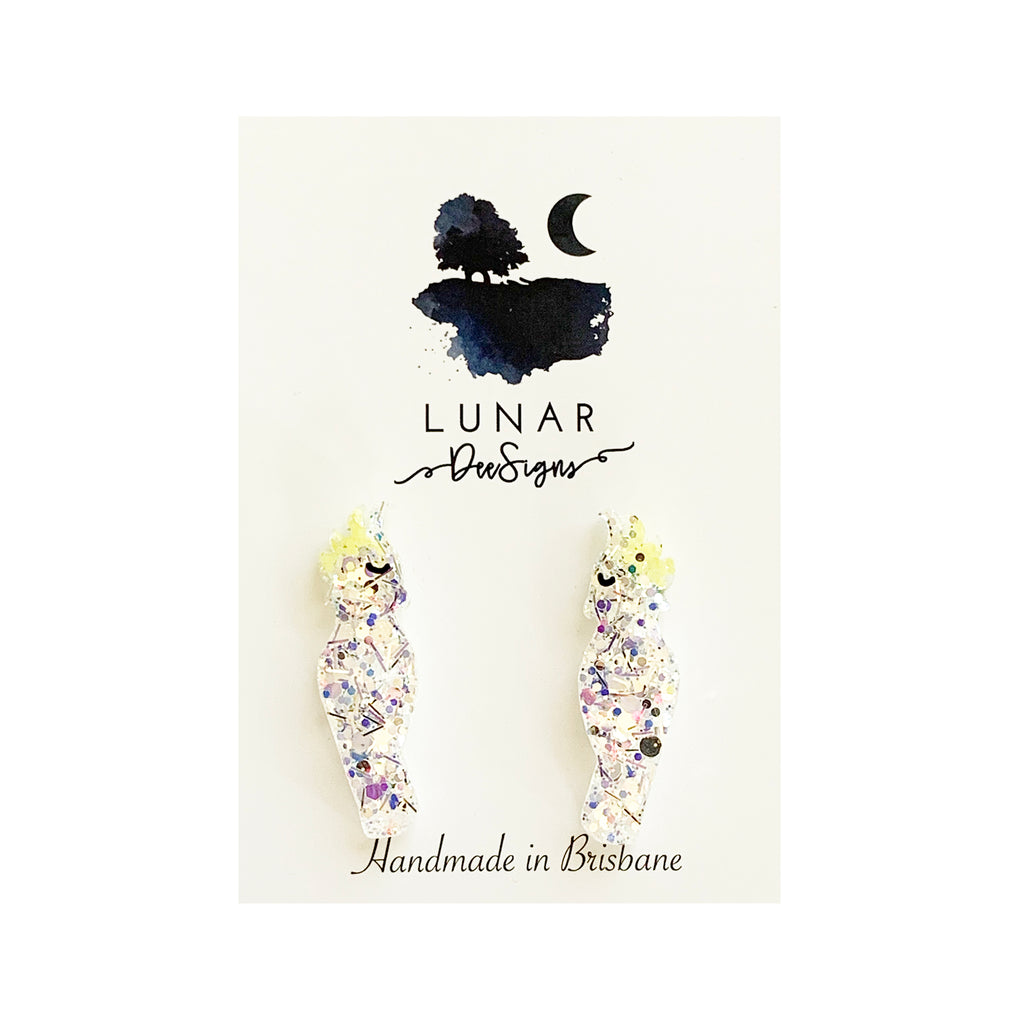 Lunar glitter bird studs | Yellow clear