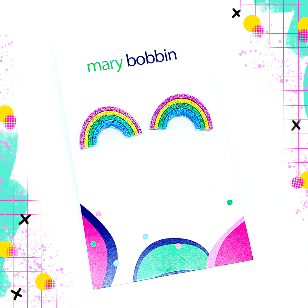Mary Bobbin Glitter Rainbow Studs small