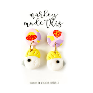Marley Made This | Cockatoo - Polymer Clay Earring Dangles w Patterned Clay top - Pink