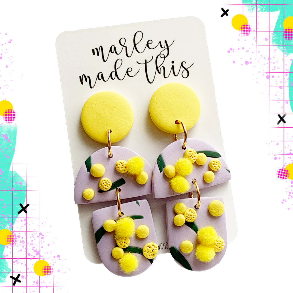 Marley Made This | Aussie Wattle pom pom statement dangles