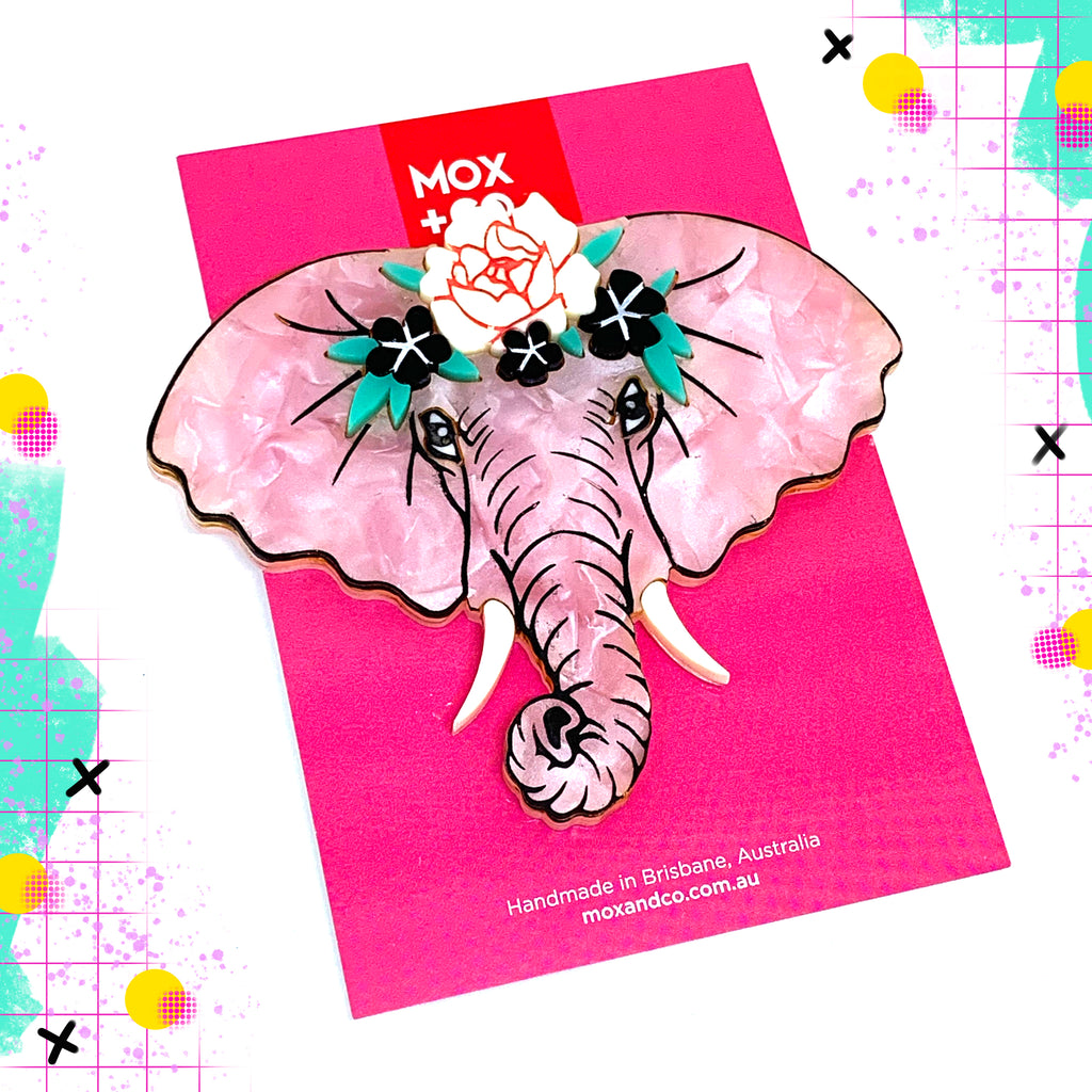 MOX & Co Chanel the elephant Brooch | Pink