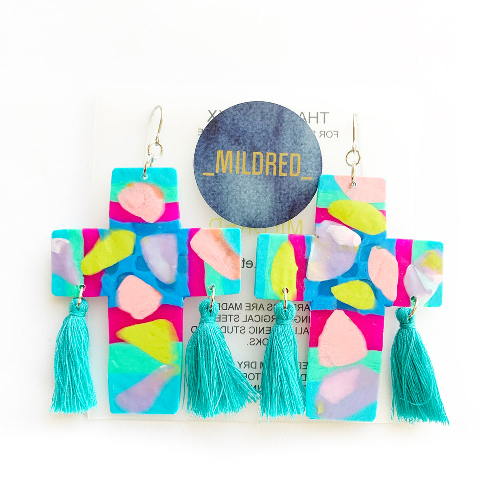 Mildred 'MADDIE' Large Dangles - Multi Colour