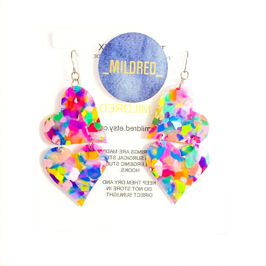 Mildred TWO HEARTS Dangles | multi