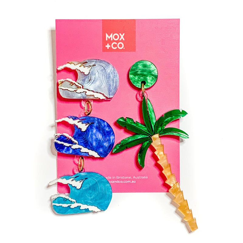 MOX & Co palm tree and wave dangles