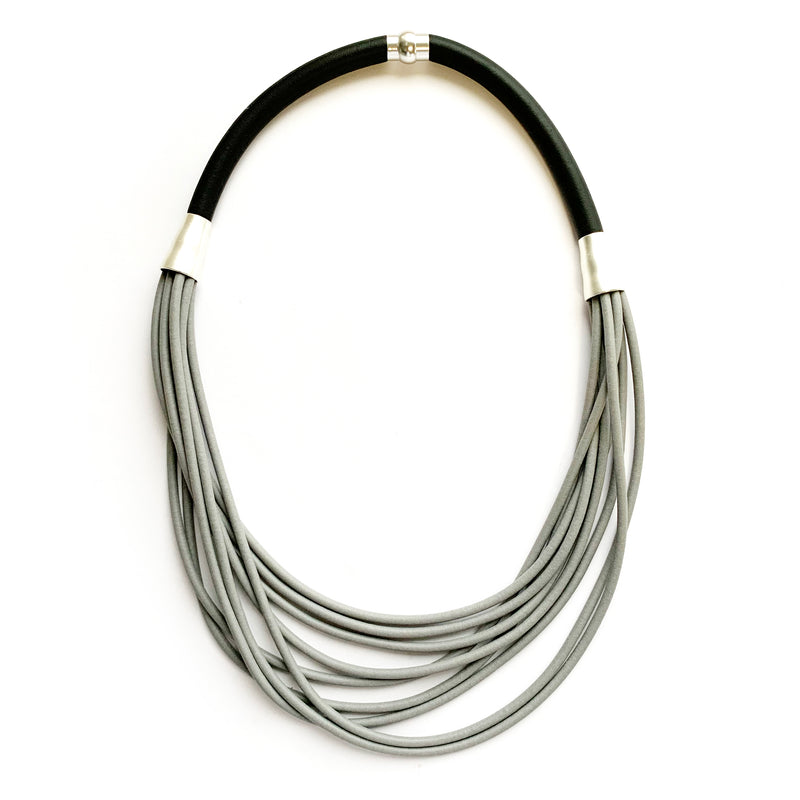 Rubber Strand Necklace | Grey