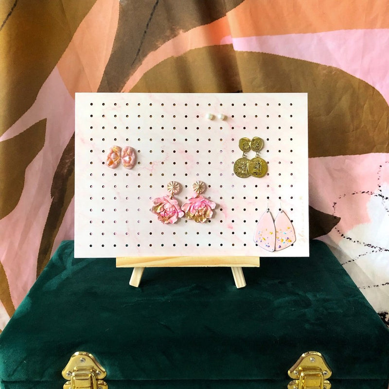 Bon Maxie | Earring Holder on Stand - Pink Marble - Mid
