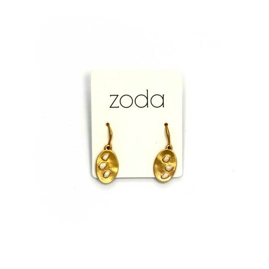 Zoda oval drops | gold and white