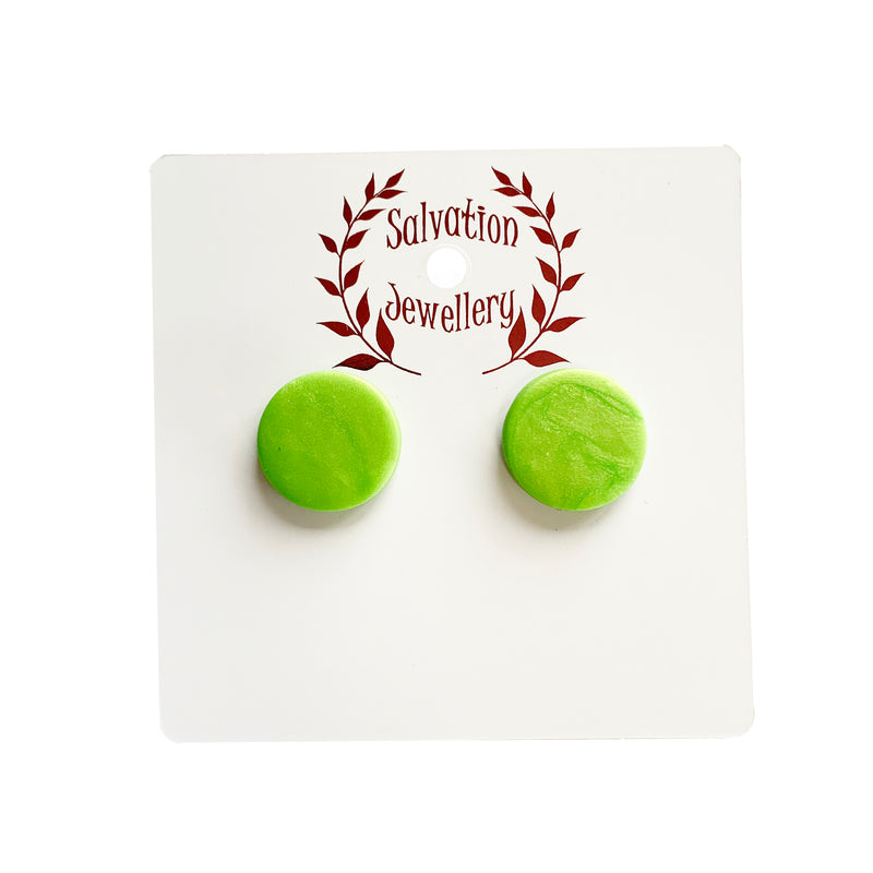 Salvation iridescent lime round studs