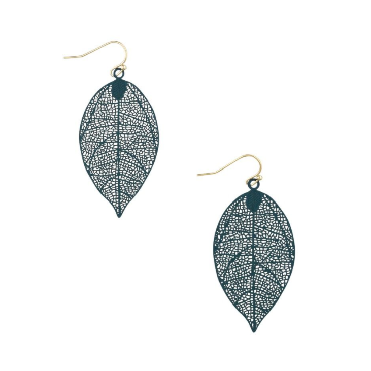 Tiger Tree | Metal Dark Green Leaf  Earrings