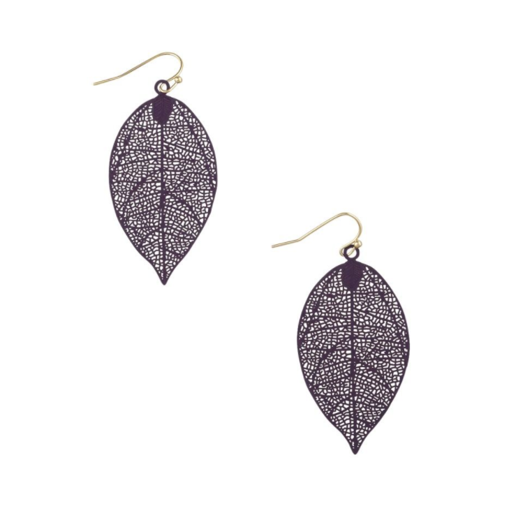 Tiger Tree | Metal Aubergine Leaf Earrings