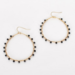Adorne | black & gold teardrop earrings