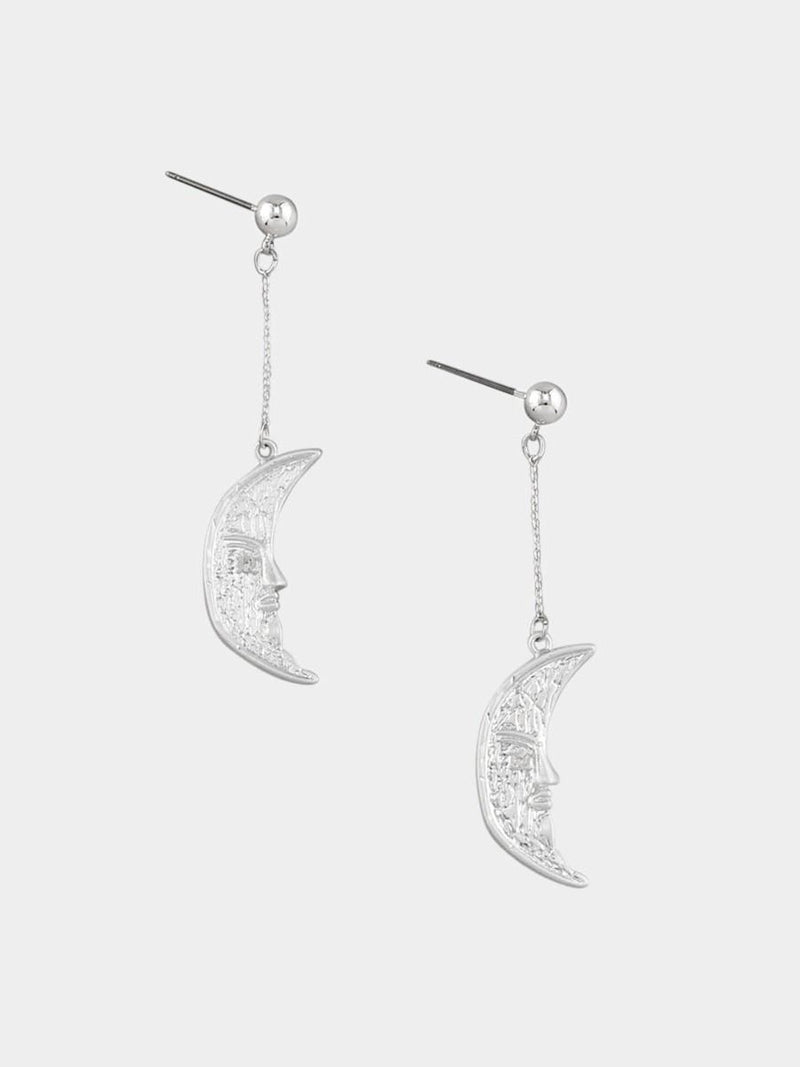 Tiger Tree | Silver Swinging Moon Earring