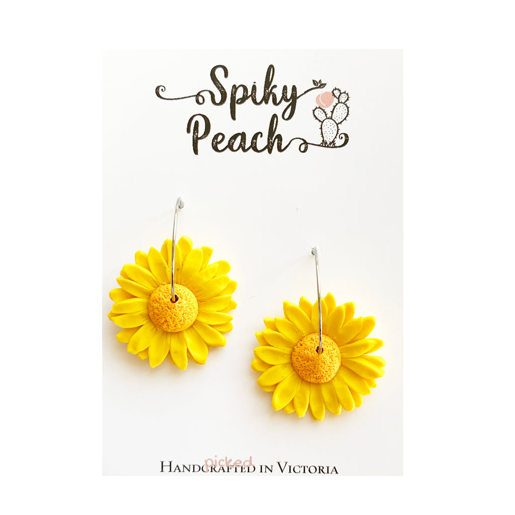 Spiky Peach | Sunflower Hoops