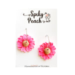 Spiky Peach | Glitter Daisy Hoops