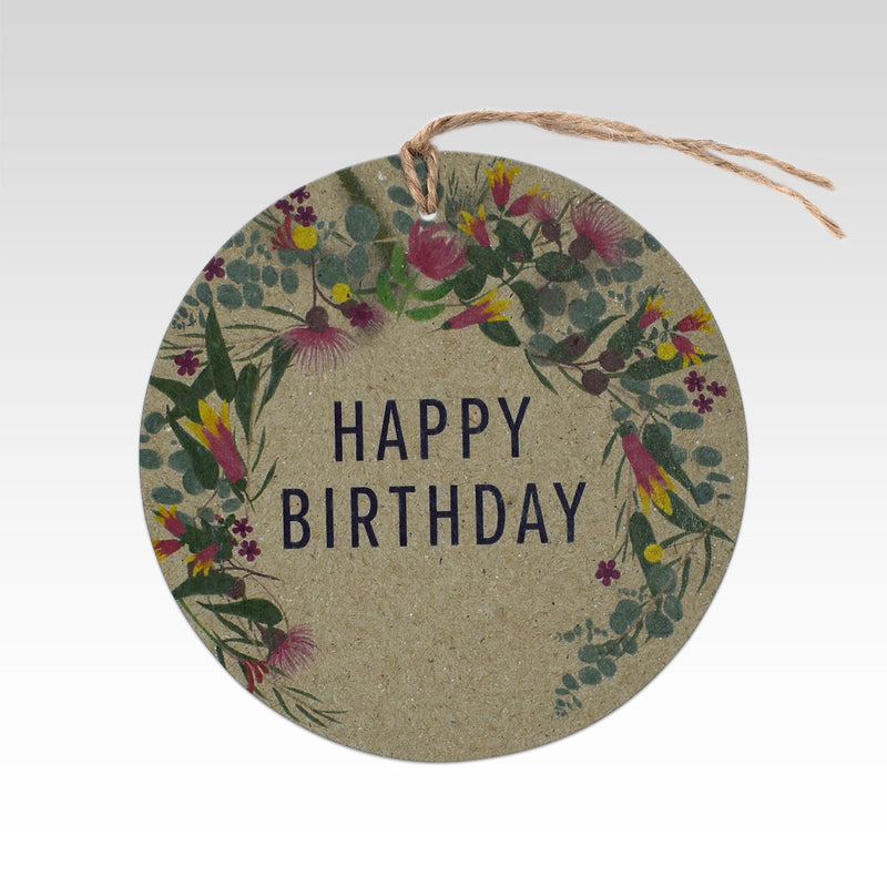 Rhicreative Happy Birthday Australiana Wreath Gift Tag